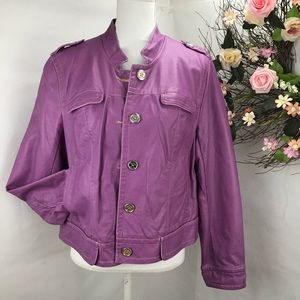 Pamela McCoy faux leather moto jacket light purple